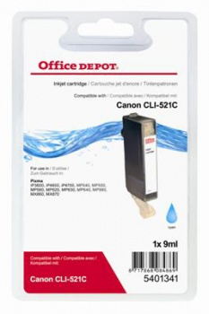 Cartridge Office Depot Canon CLI-521 C - azúrová