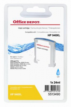 Cartridge Office Depot HP C4907AE/940XL - azúrová