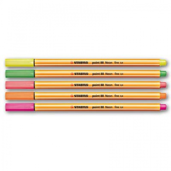 Liner Stabilo Point 88 Neon - 5 farieb, 0,4 mm