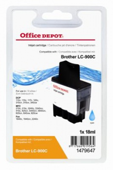 Cartridge Office Depot Brother LC900C - azúrová