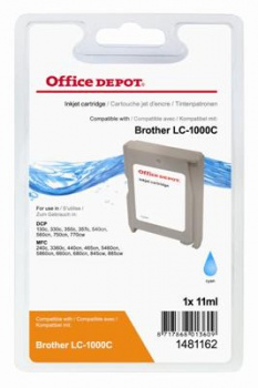 Cartridge Office Depot Brother LC1000C - azúrová
