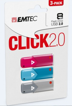 USB Flash Disk Emtec Click 2.0 - 8 GB, 3 ks