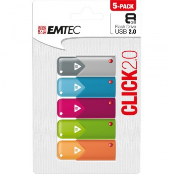USB Flash Disk Emtec Click 2.0 8 GB, 5 ks